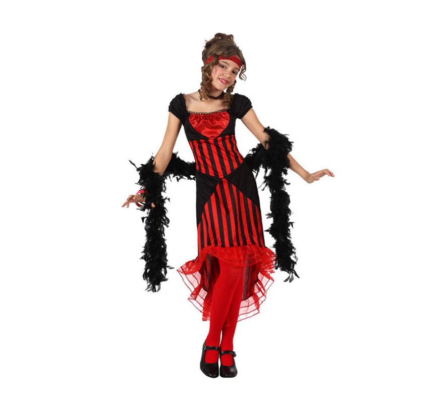 Disfraz de Cabaretera para niñas de 3 a 4 años. Incluye vestido, gargantilla y cinta para la cabeza. Boa, medias y zapatos NO incluidos. La Boa podrás verla en la sección de Complementos.
