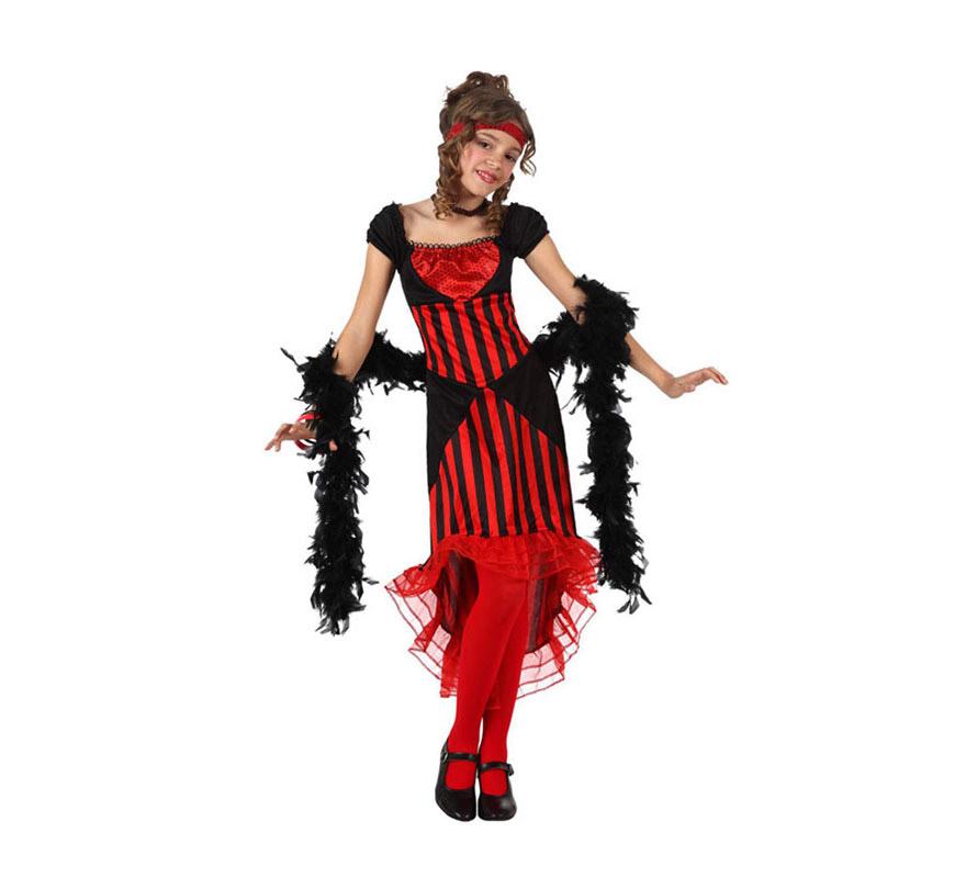 Disfraz de Cabaretera para niñas de 7 a 9 años. Incluye vestido, gargantilla y cinta para la cabeza. Boa, medias y zapatos NO incluidos. La Boa podrás verla en la sección de Complementos.