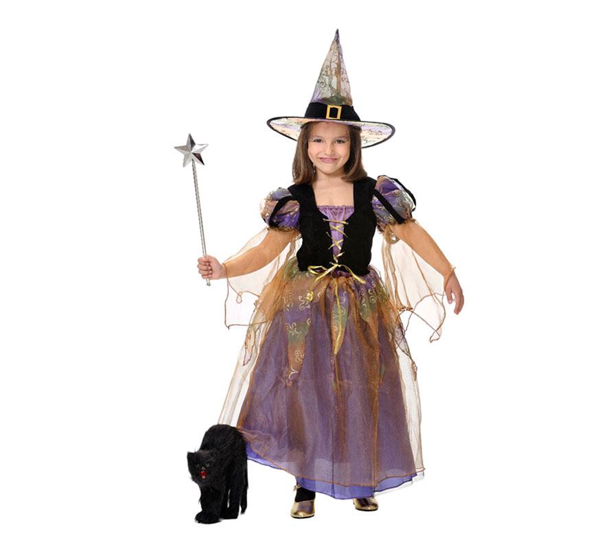 Disfraz barato de Bruja con luces fibra óptica para niñas