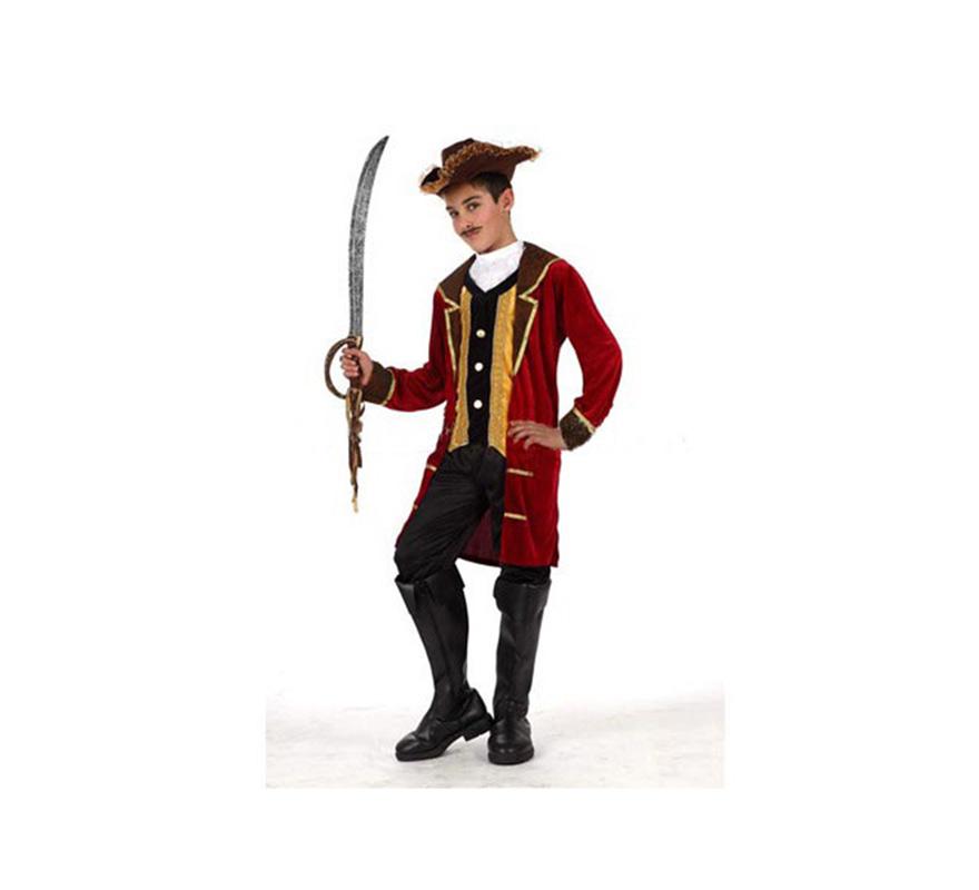 Disfraz del Pirata Capitán Garfio o Capitán Pirata de lujo para niños de 3 a 4 años. Incluye sombrero, pantalón, pechera y chaqueta con chaleco. Espada y cubrebotas NO incluidos, podrás ver la espada en la sección de Complementos. Éste disfraz es la pareja ideal para el disfraz de Peter Pan.