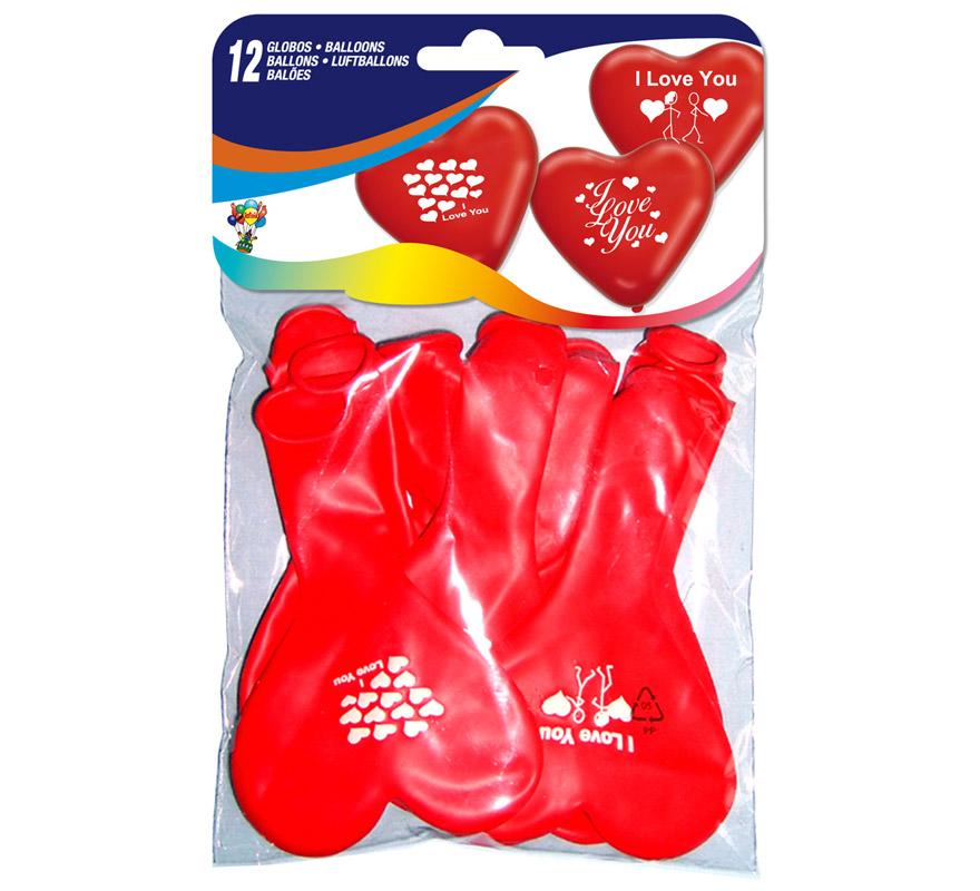 Bolsa con solapa de 12 globos 31 cm Ø de colores y modelos variados con forma de corazón. Impresión I LOVE YOU. Marca Gran Festival. Perfectos para el día 14 de Febrero, día de los Enamorados.