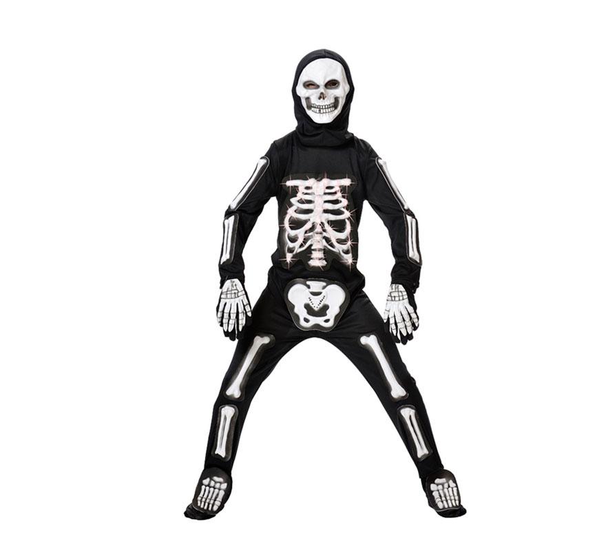 Disfraz de Esqueleto para niños con luces de fibra óptica en la parte de las costillas. Varias tallas. Incluye traje, guantes, pies y careta. Pilas NO incluidas. Da poca talla.