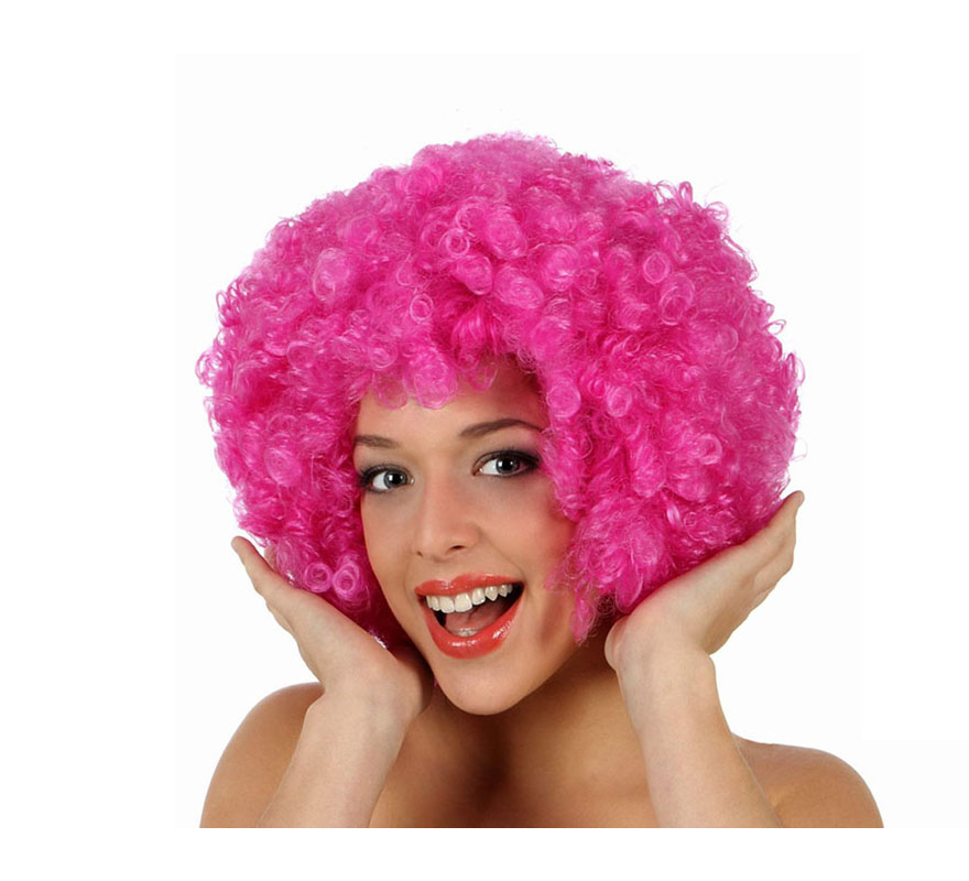 Peluca Afro rosa de 35 cm. Perfecta para el disfraz de Payaso o de Hippie.