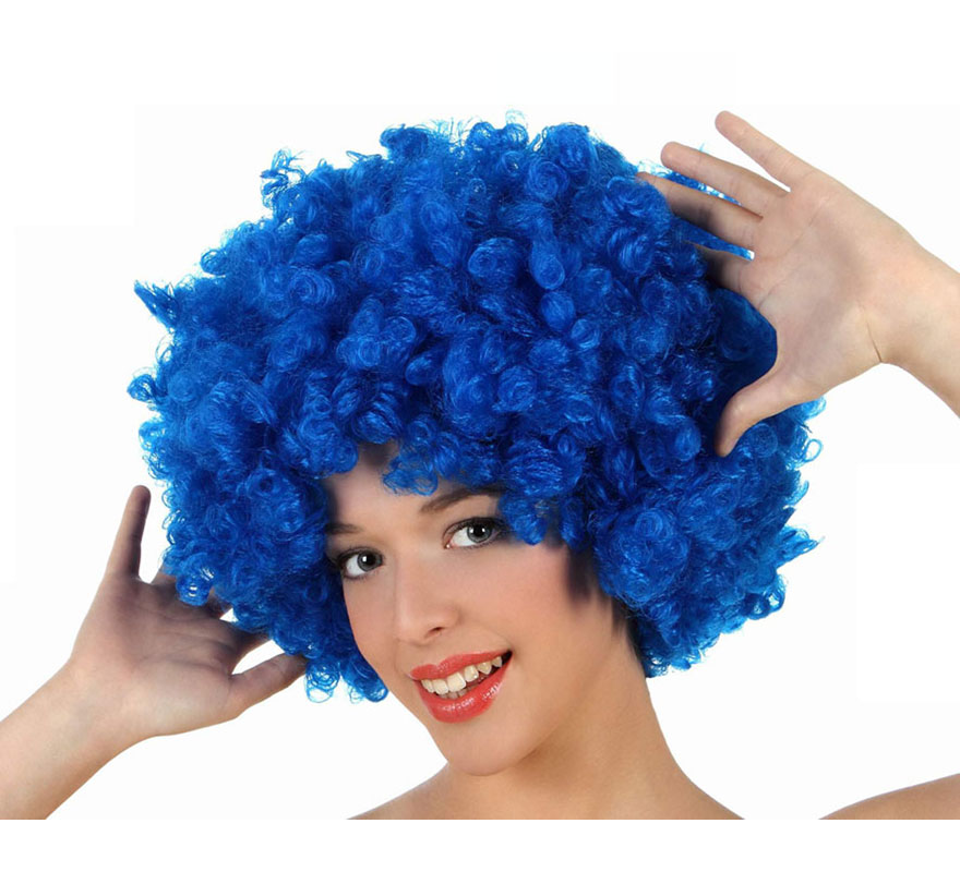 Peluca Afro azul de 35 cm. Perfecta para el disfraz de Payaso o de Hippie.