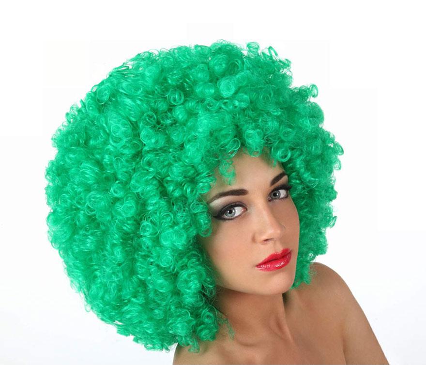 Peluca Afro verde de 35 cm. Perfecta para el disfraz de Payaso o de Hippie.