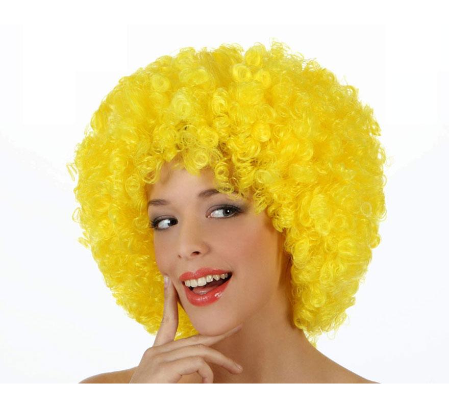 Peluca Afro amarilla de 35 cm. Perfecta para el disfraz de Payaso o de Hippie.