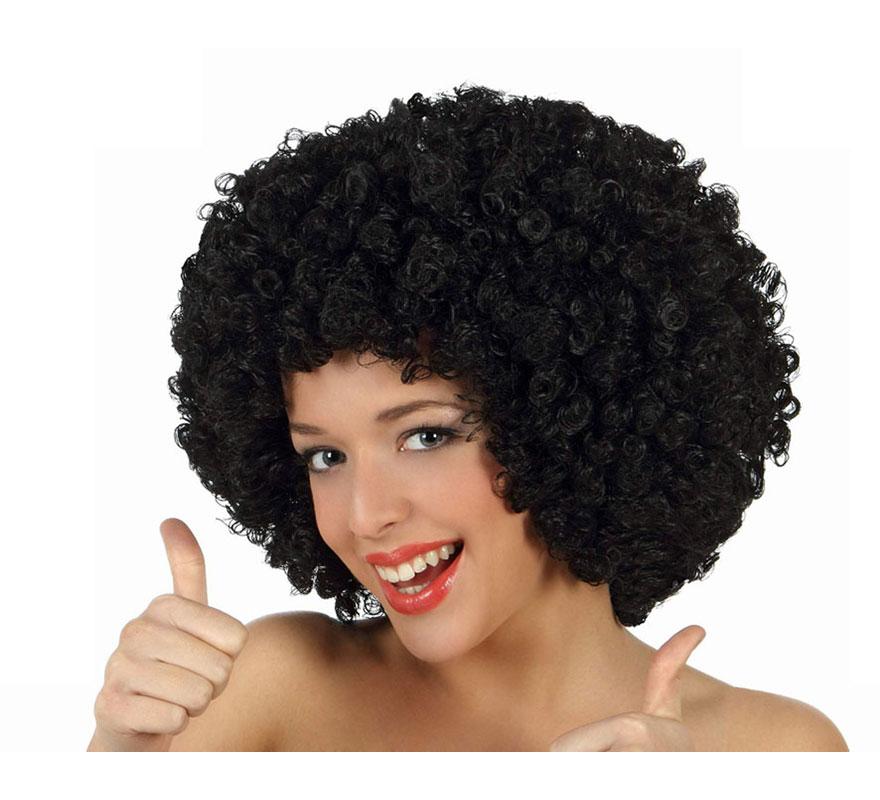 Peluca Afro negra de 35 cm. Perfecta para el disfraz de Payaso o de Hippie.