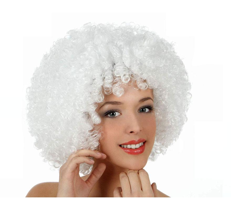 Peluca Afro blanca de 35 cm. Perfecta para el disfraz de Payaso o de Hippie.