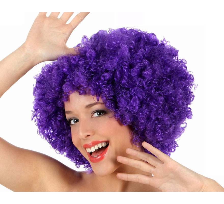 Peluca Afro púrpura de 35 cm. Perfecta para el disfraz de Payaso o de Hippie.
