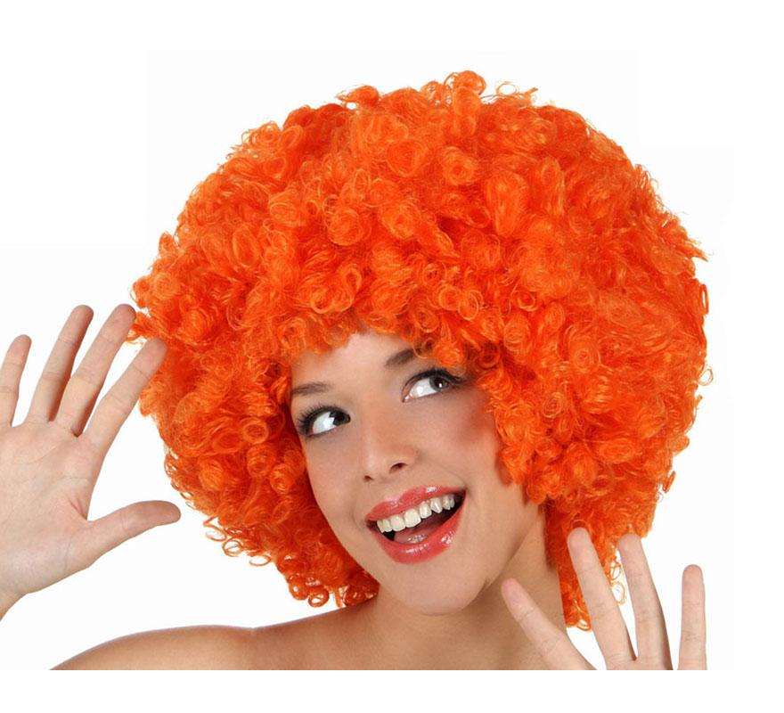 Peluca Afro naranja de 35 cm. Perfecta para el disfraz de Payaso o de Hippie.