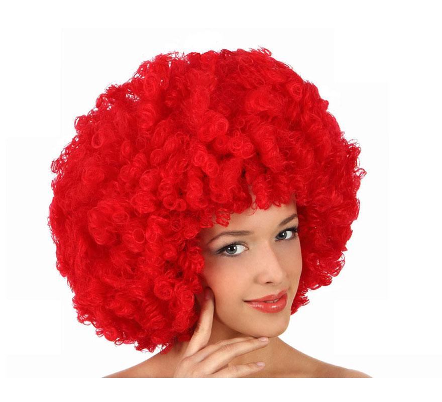 Peluca Afro roja de 35 cm. Perfecta para el disfraz de Payaso o de Hippie.