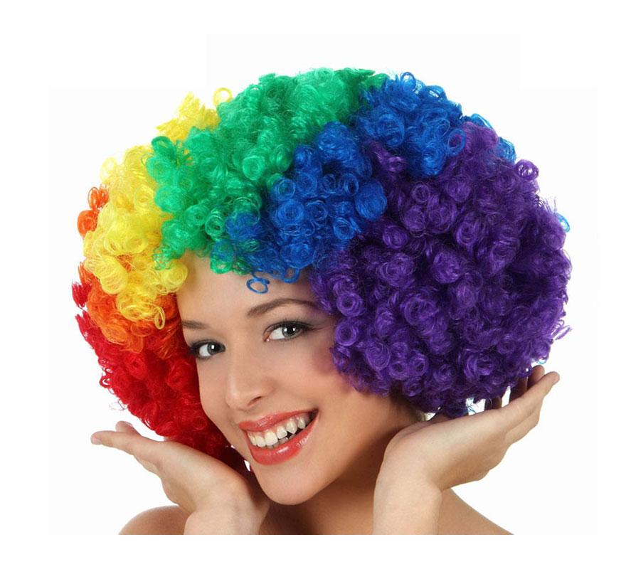 Peluca Afro multicolor de 35 cm. Perfecta para el disfraz de Payaso.