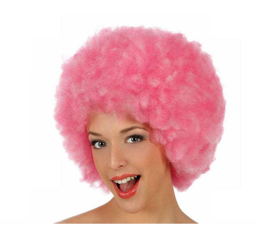 Peluca Afro de Hippie rosa de 40 cm.