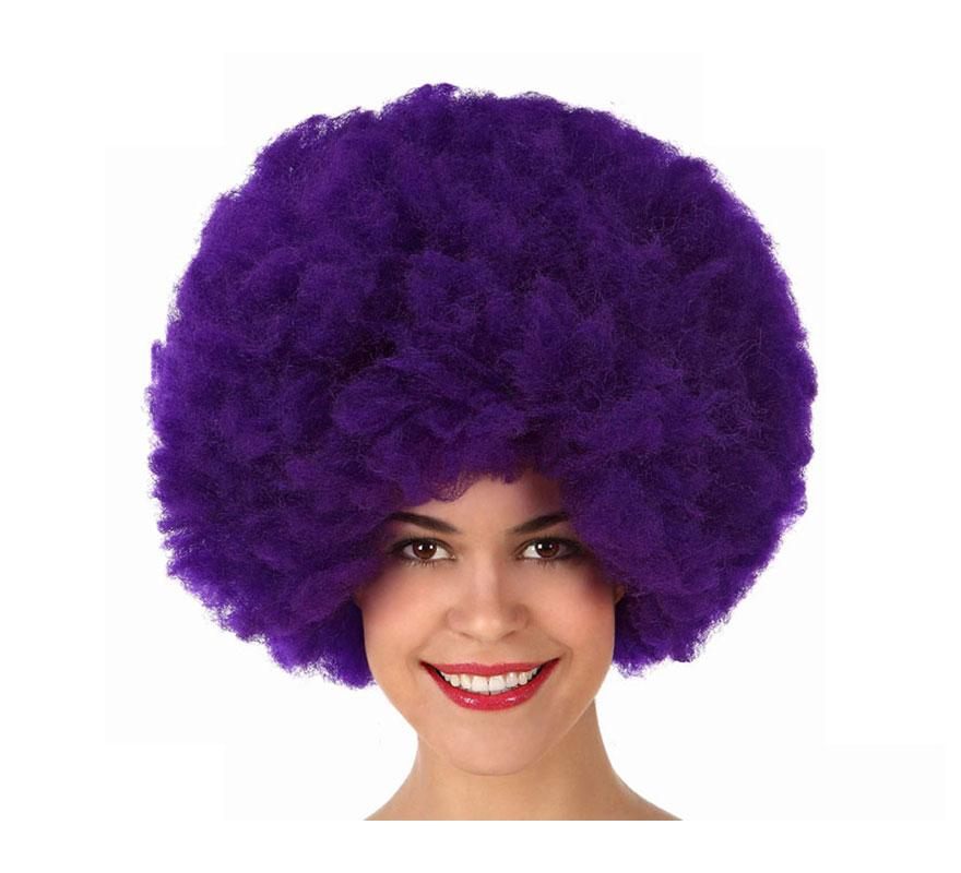 Peluca Afro de Hippie púrpura de 40 cm.