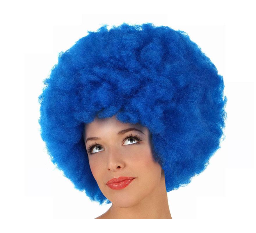 Peluca Afro de Hippie azul de 40 cm.