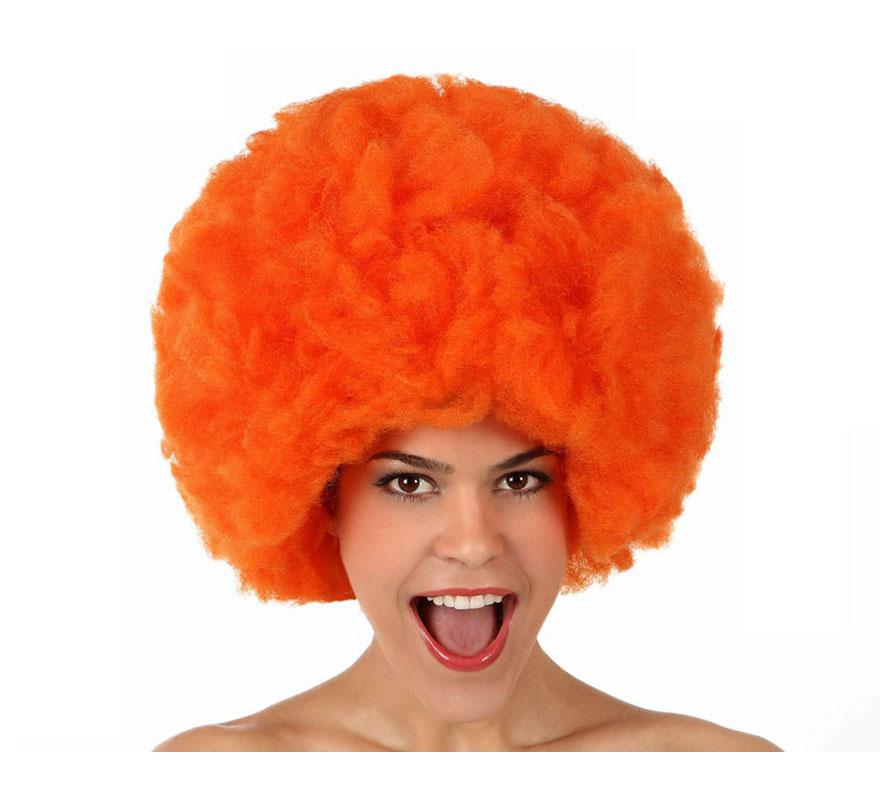 Peluca Afro de Hippie naranja de 40 cm.