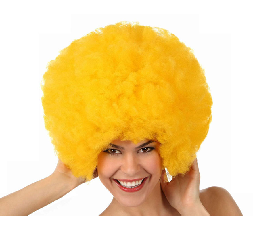 Peluca Afro de Hippie amarilla de 40 cm.