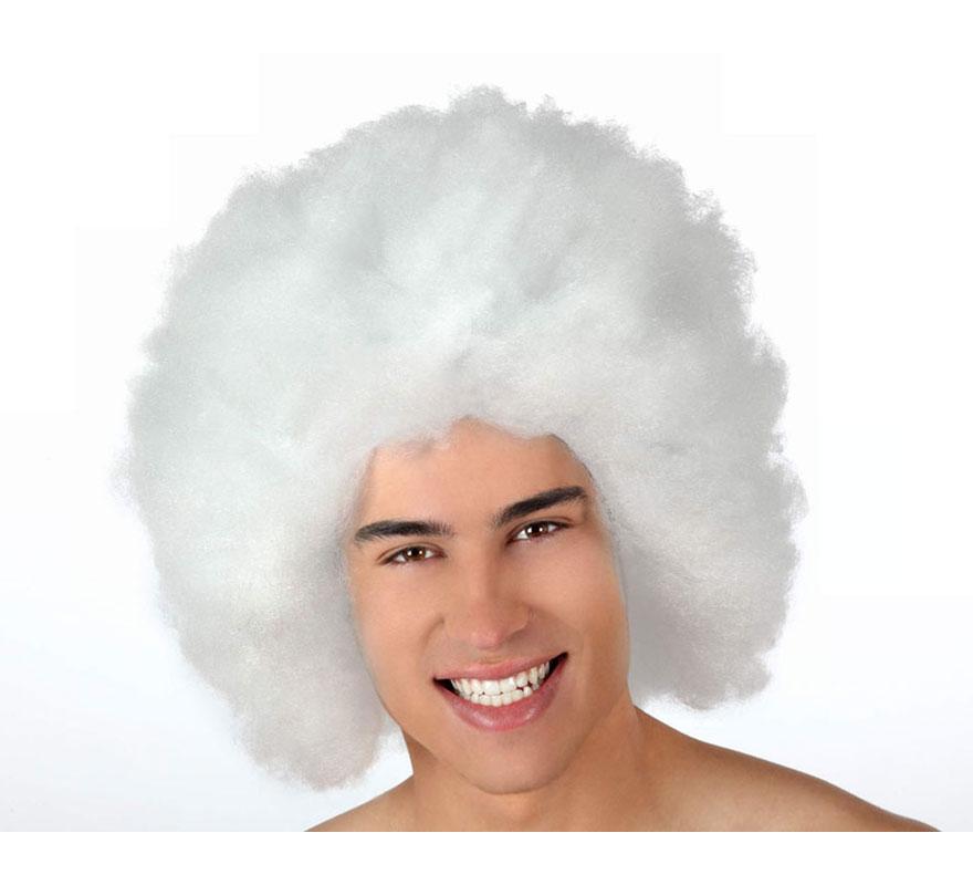 Peluca Afro de Hippie blanca de 40 cm.
