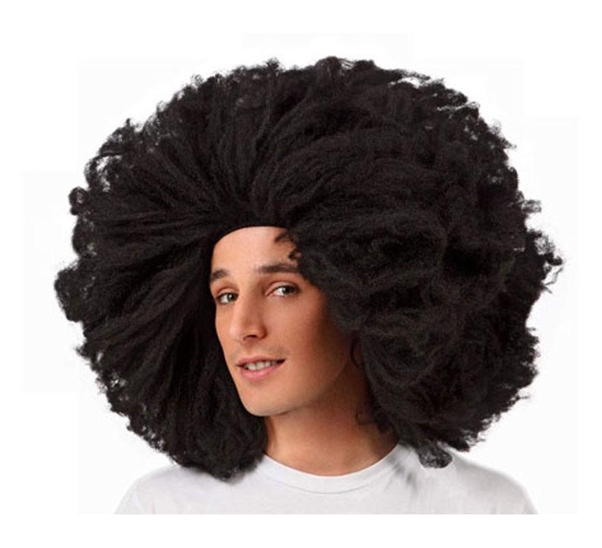 Peluca super Afro Hippie negra de 60 cm.