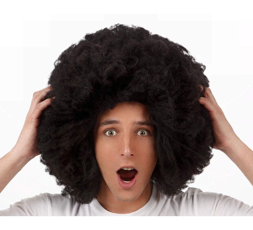 Peluca super Afro Hippie negra de 50 cm.