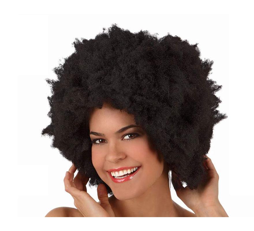 Peluca super Afro de la Disco negra de 40 cm. También sirva para Hippie.