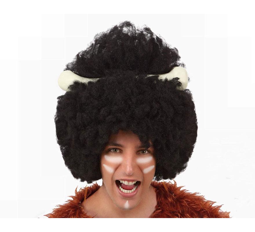Peluca Afro de Canival con hueso para hombre. También sirve como Peluca de Troglodita o Cavernícola.