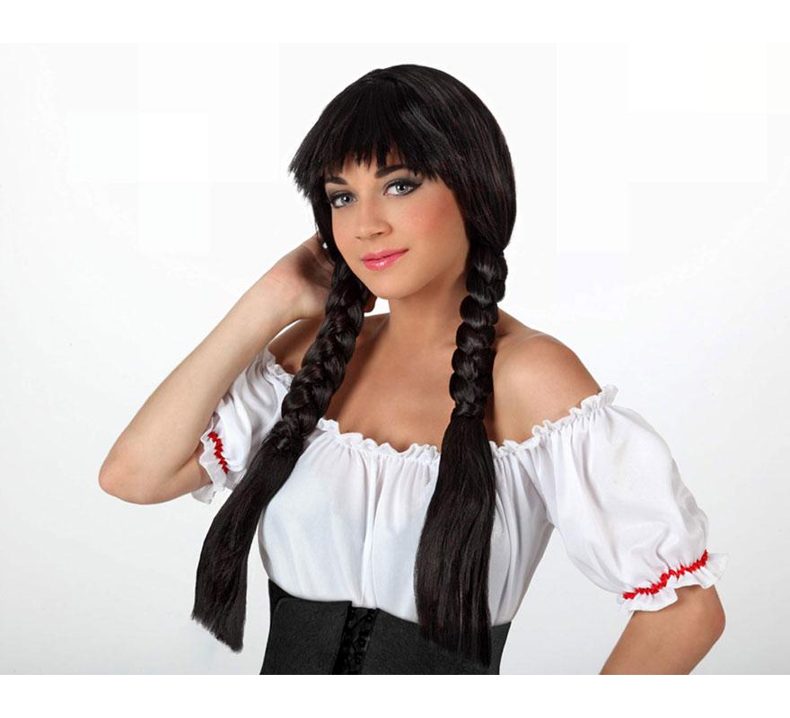 Peluca negra larga con trenzas y flequillo. Perfecta para el disfraz de Mejicana, Colegiala o Tirolesa morena.