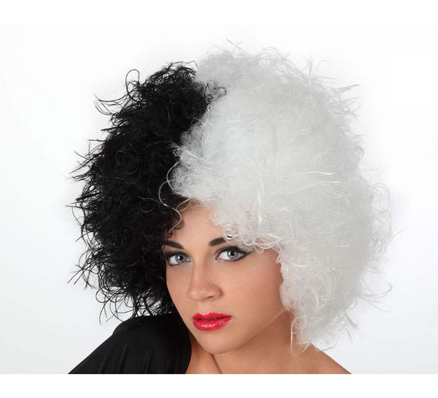 Peluca de Mujer Malvada blanca y negra. Ideal para el disfraz de Cruella de Vil.