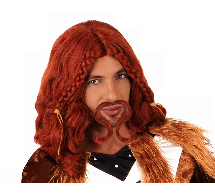 Peluca de Vikingo o Bárbaro naranja con trenzas y bigote. También podría valer para los disfraces de Escocés y Tabernero o Posadero Medieval.