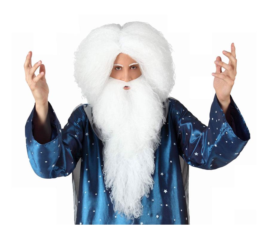 Peluca y barba de Mago blanca larga. También sirve como Peluca y Barba de Gandalf, de Anciano, de Rey Melchor o de Papá Noel.