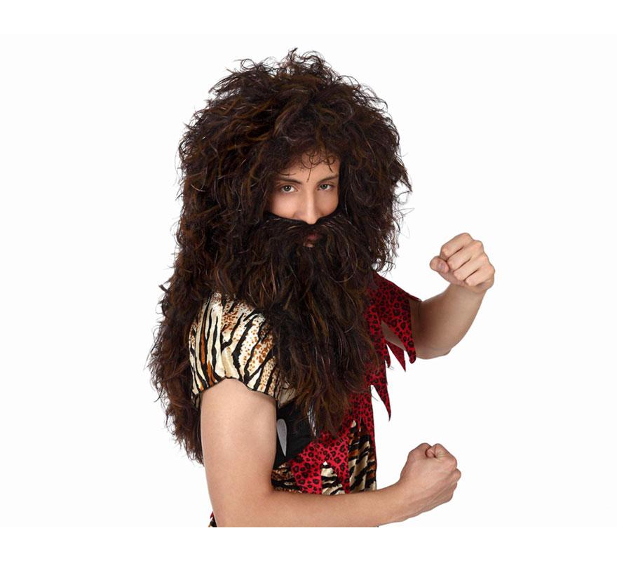 Peluca y barba de Cavernícola larga. También valdría como peluca de Náufrago o incluso de Vikingo o Bárbaro.