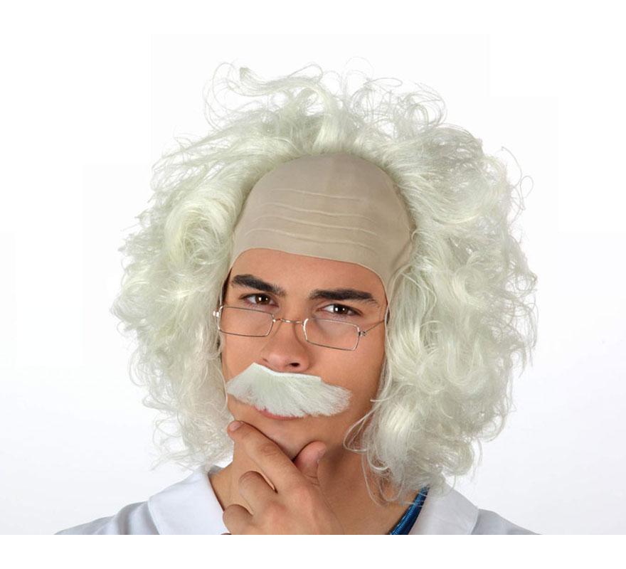 Peluca de Científico Loco con gafas o Peluca del Dr. Emmett Lathrop Brown, normalmente conocido como Doc en la película de Regreso al Futuro y para Bitelchús. También es perfecta para disfrazarse del famoso Doctor físico Albert Einstein.