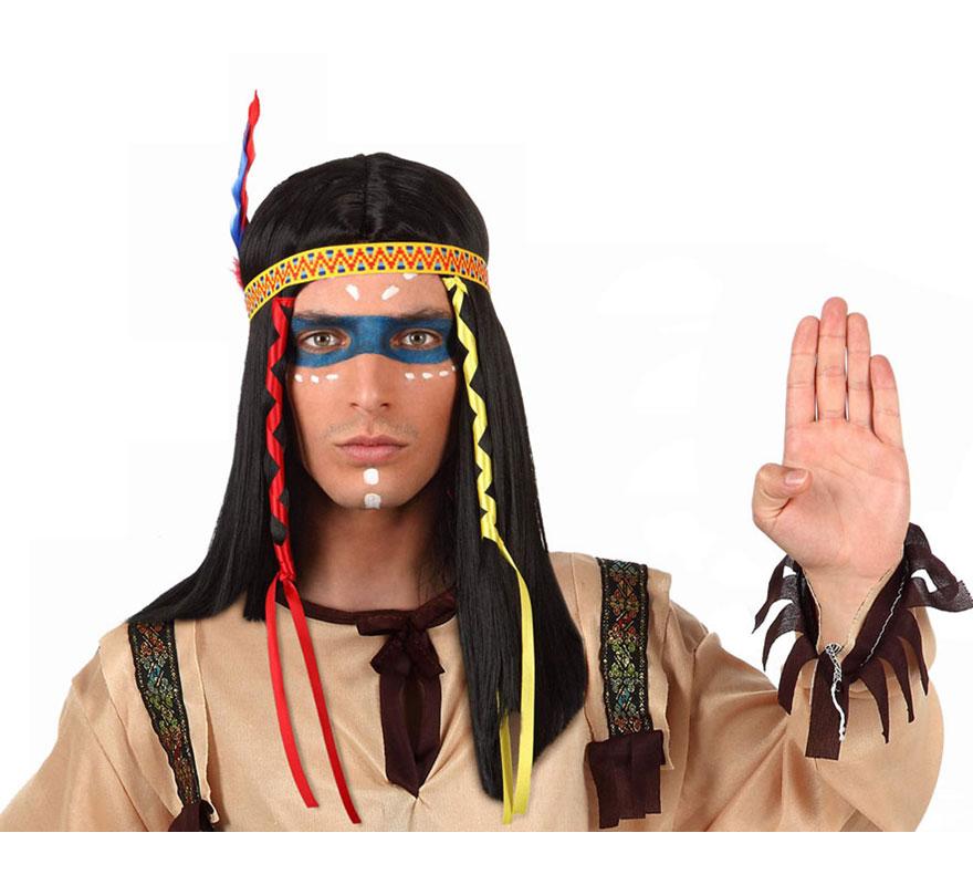 Peluca de Indio con plumas.