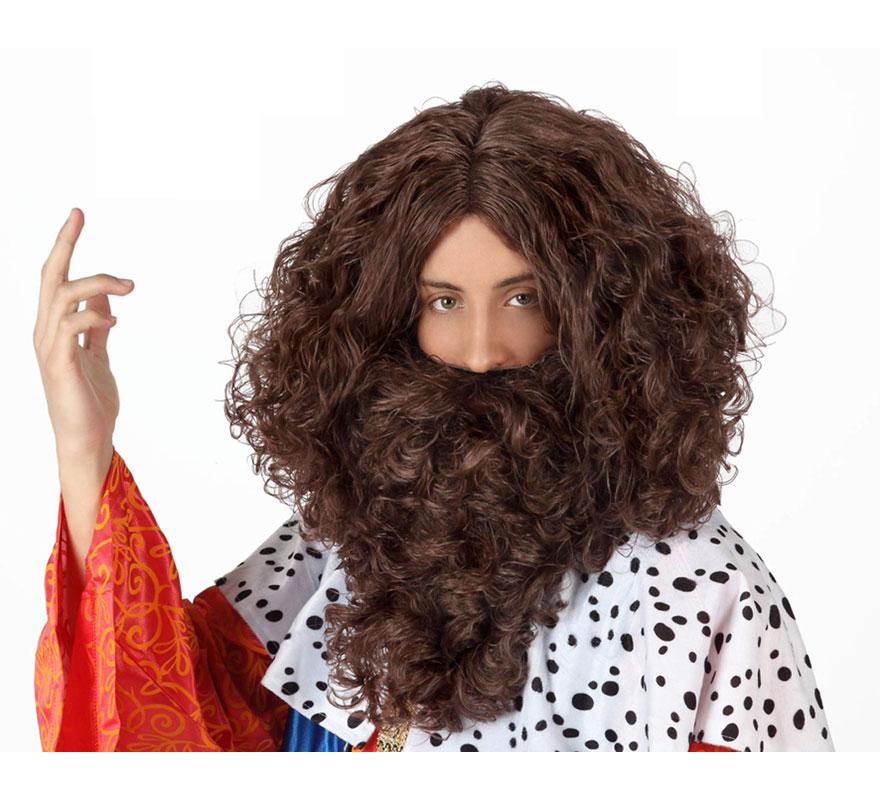 Peluca y Barba castaña de Rey Mago Gaspar. También podría valer como Peluca y Barba de Vikingo o Bárbaro, incluso para el disfraz de Troglodita o Cavernícola.