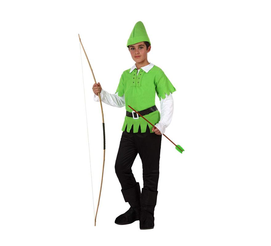 Disfraz de Arquero de los Bosques o Peter Pan para niños de 5 a 6 años. Incluye disfraz completo SIN Arco. El arco lo podrás ver en la sección de Complementos. Éste disfraz puede servir tanto para Robin Hood el Príncipe de los Ladrones, como para disfrazarse de Peter Pan.