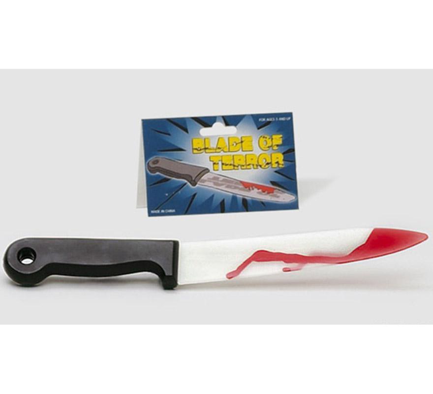 Cuchillo Screamer de hoja flexible manchada de sangre para Halloween.