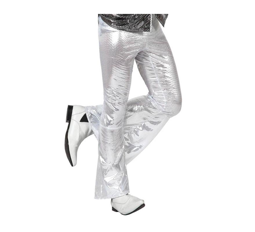 Pantalón de la Disco plata para hombre. Talla 1 ó talla S = 48/52 para chicos delagados y adolescentes. Incluye pantalón. Perfecto para disfrazarse de Discotequero.