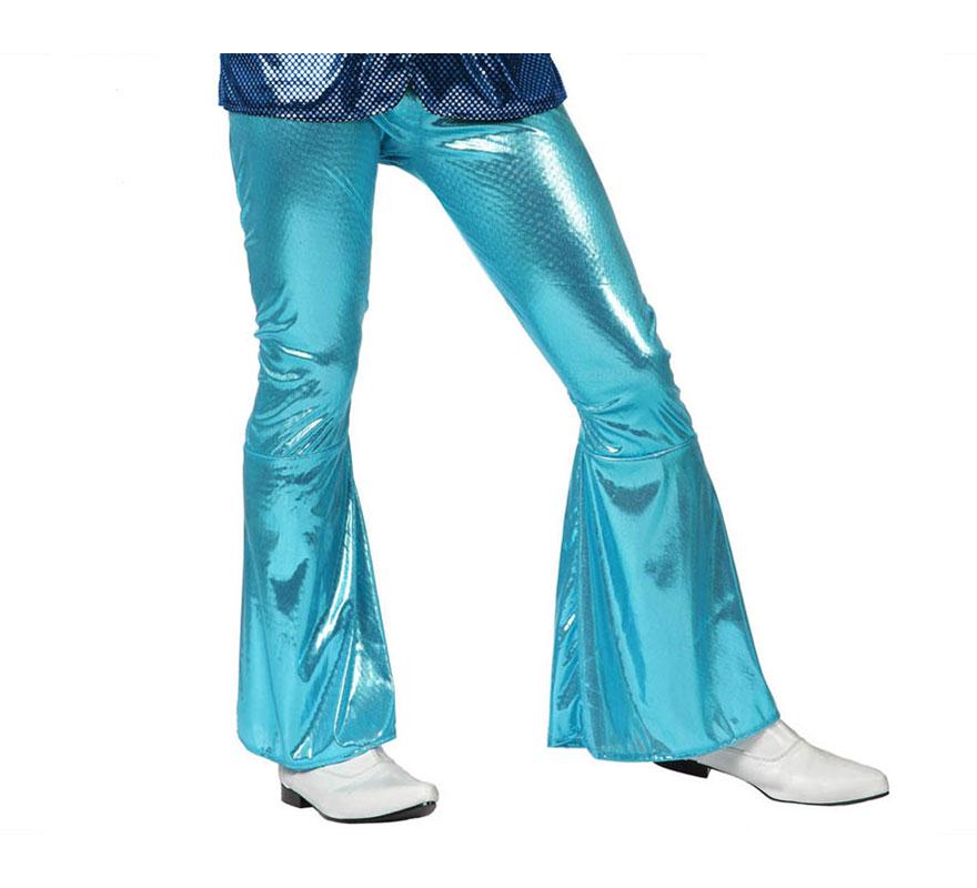 Pantalón de la Disco Brillo azul para hombre. Talla 1 ó talla S = 48/52 para chicos delagados y adolescentes. Incluye pantalón. Perfecto para disfrazarse de Discotequero.