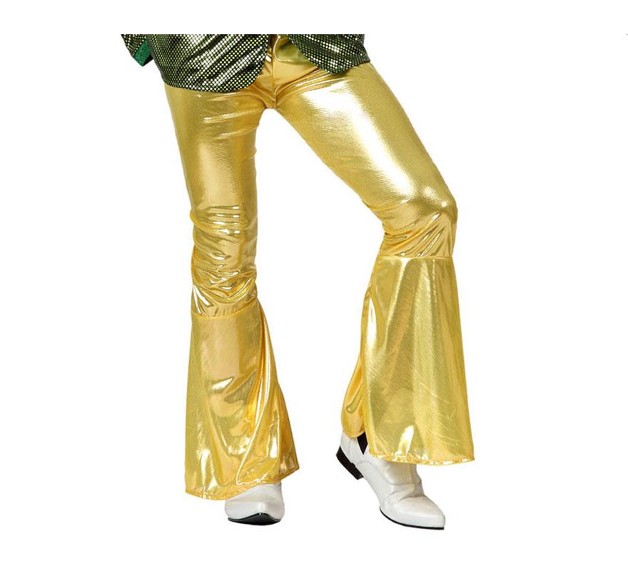 Pantalón de la Disco dorado para hombre. Talla 1 ó talla S = 48/52 para chicos delgados y adolescentes. Incluye pantalón. Perfecto para disfrazarse de Discotequero.