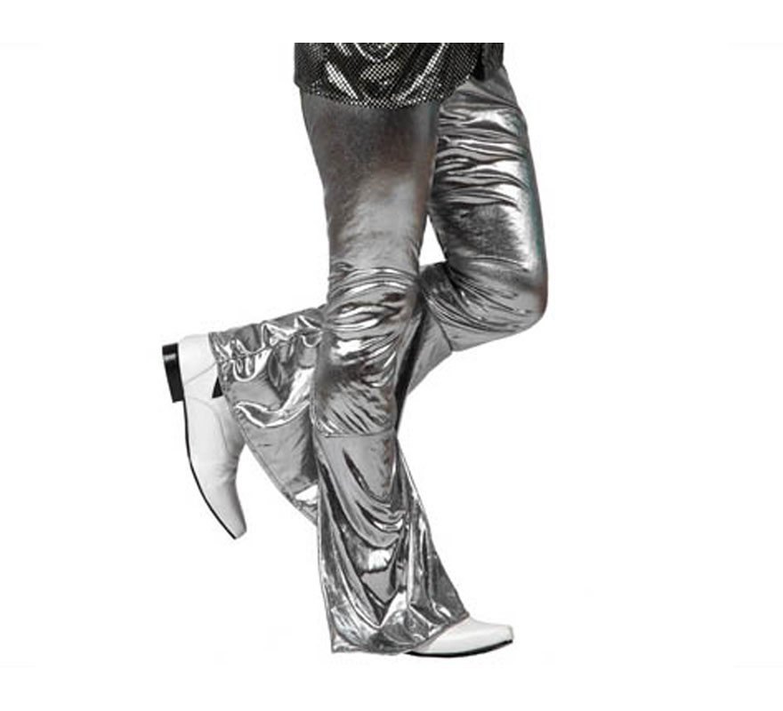 Pantalón de la Disco Brillo gris para hombre. Talla 2 ó talla M-L = 52/54. Incluye pantalón. Perfecto para disfrazarse de Discotequero.