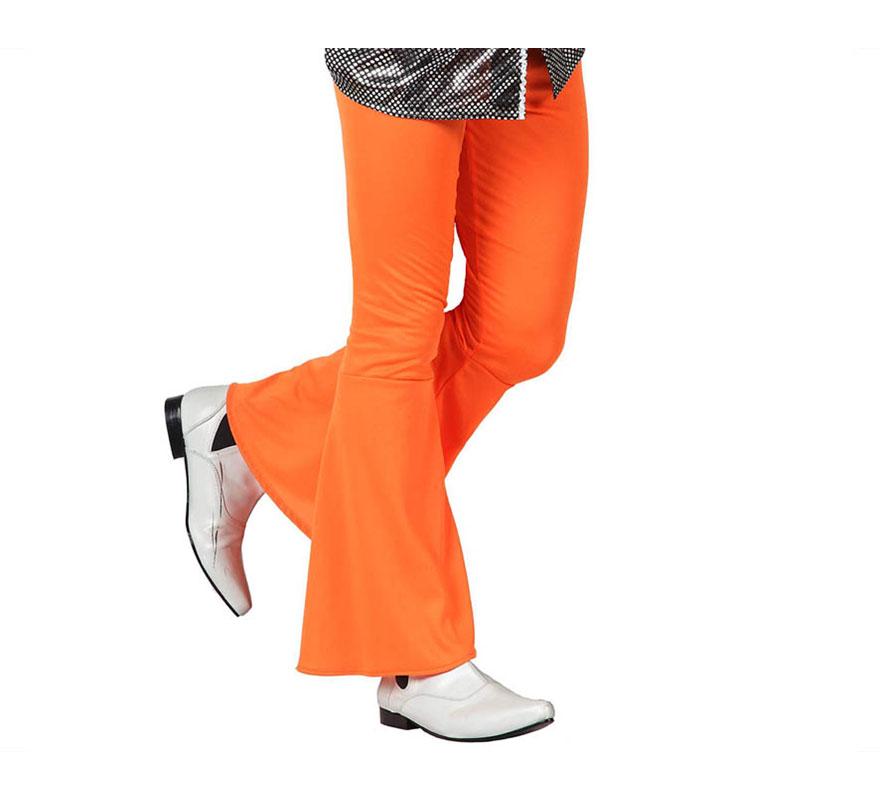 Pantalón de la Disco naranja para hombre. Talla 1 ó talla S = 48/52 para chicos delgados o adolescentes. Incluye pantalón. Perfecto para disfrazarse de Discotequero.