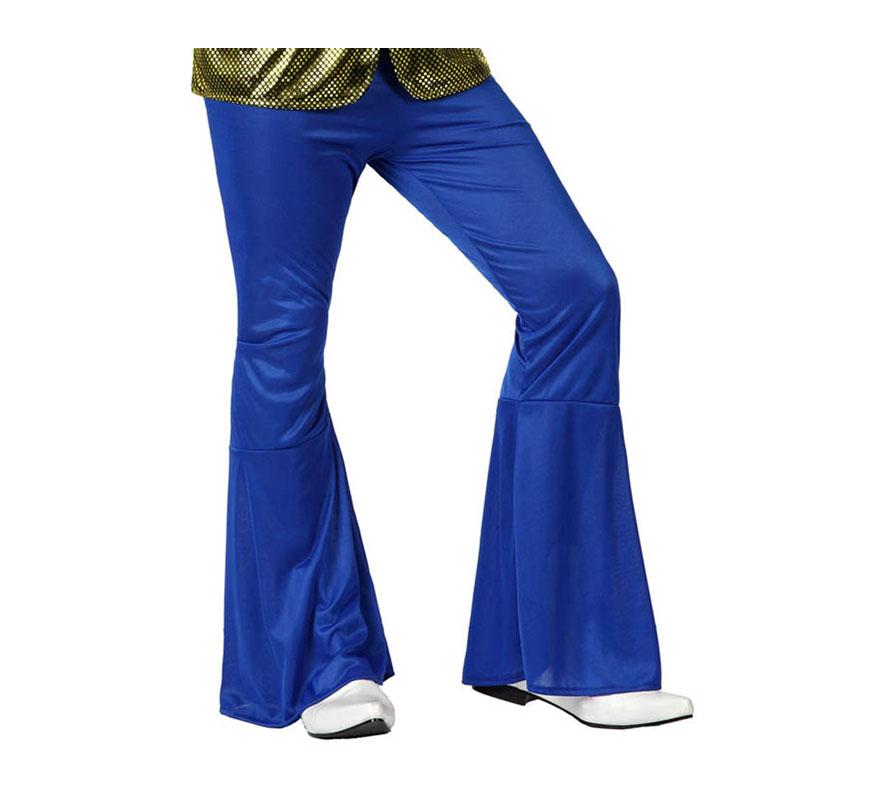 Pantalón de la Disco azul para hombre. Talla 1 ó talla S = 48/52 para chicos delgados y adolescentes. Incluye pantalón. Perfecto para disfrazarse de Discotequero.