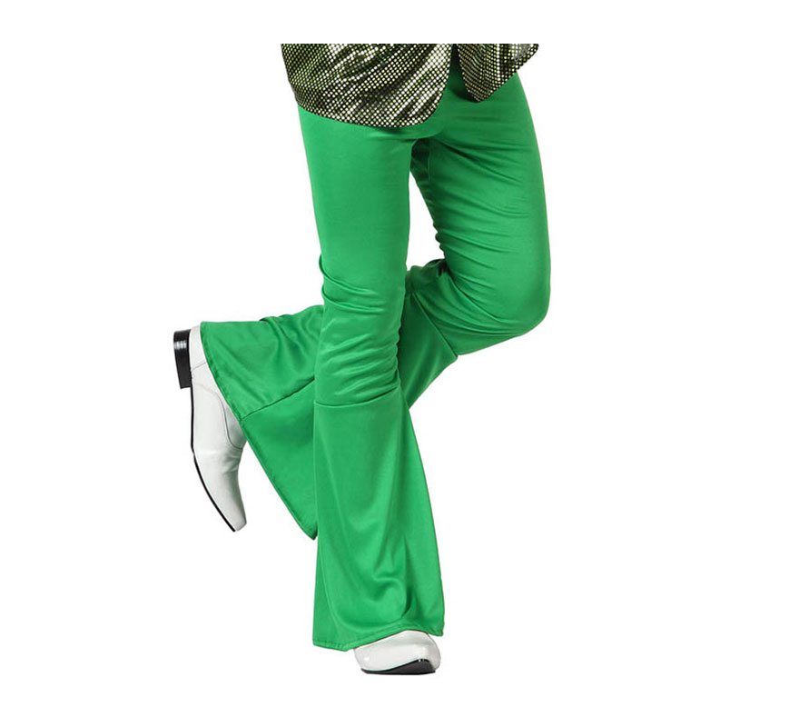 Pantalón de la Disco verde para hombre. Talla 1 ó talla S = 48/52 para chicos delgados o adolescentes. Incluye pantalón. Perfecto para disfrazarse de Discotequero.