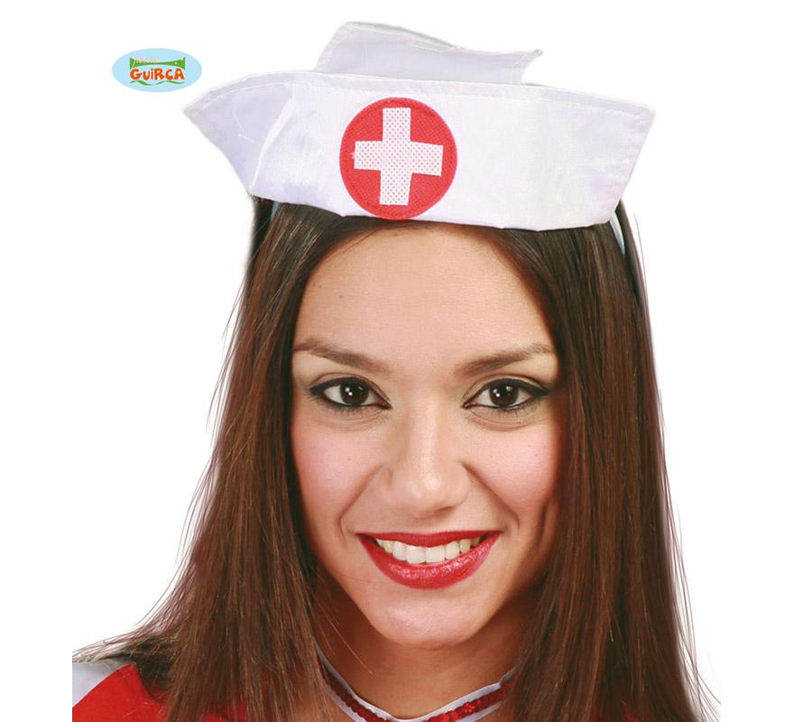 Tocado Cofia de Enfermera de tela con diadema. Perfecto para Despedidas de Soltera.