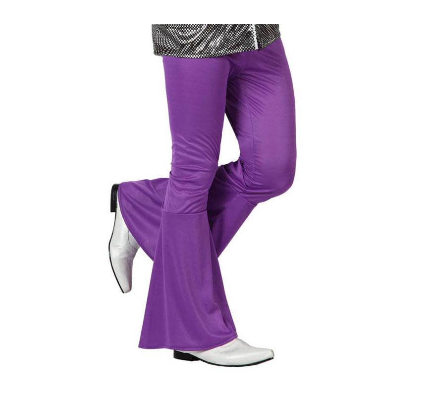 Pantalón de la Disco morado para hombre. Talla 1 ó talla S = 48/52 para chicos delgados o adolescentes. Incluye pantalón. Perfecto para disfrazarse de Discotequero.