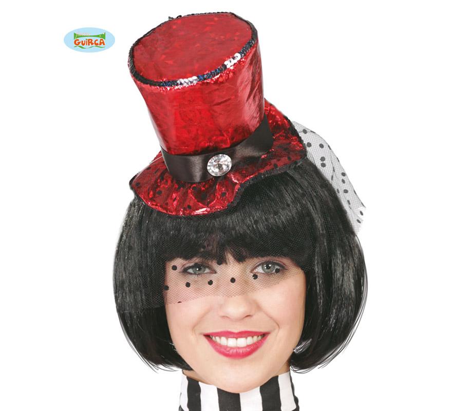 Sombrero de Copa o Chistera de Cabaret roja mini con velo y diadema. Perfecto también para Despedidas de Soltera.