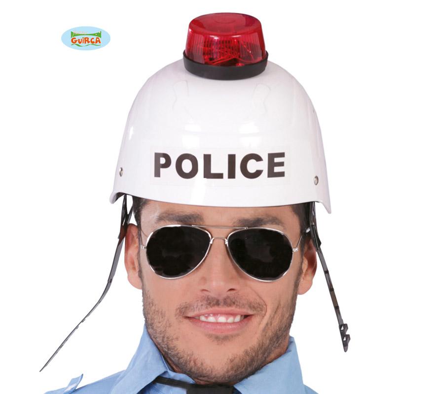 Casco de Policía con sirena, luz y sonido.