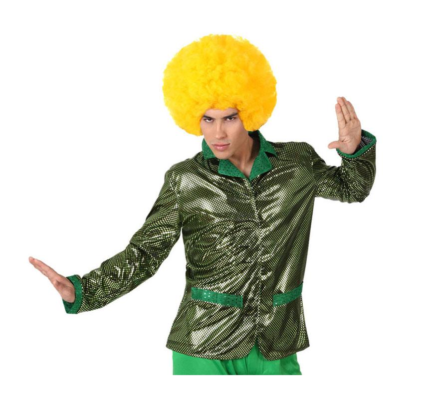 Chaqueta de la Disco Brillo verde para hombre. Talla 1 ó talla S = 48/52 para chicos delgados y adolescentes. Incluye chaqueta. Perfecto para disfrazarse de Discotequero.