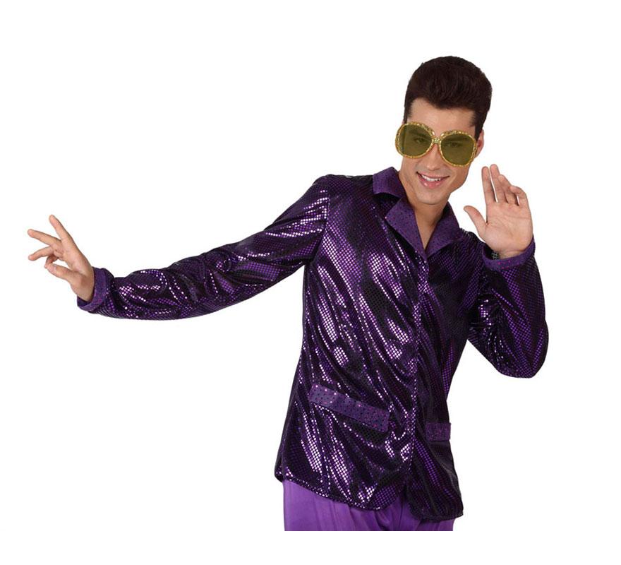 Camisa de la Disco Brillo morada para hombre. Talla 2 ó talla M-L = 52/54. Incluye camisa. Perfecto para disfrazarse de Discotequero.