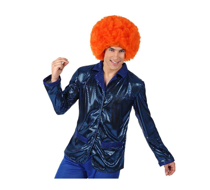 Camisa de la Disco Brillo azul para hombre. Talla 2 ó talla M-L = 52/54. Incluye camisa. Perfecto para disfrazarse de Discotequero.